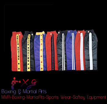 Boxing Trousers-XG 12 Thai Boxing trousers 100% Nylon With stars, writing and strips